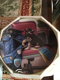 German Shepherd puppy with police suit printed decorative plate