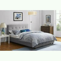 brown wooden bed frame with white bed sheet set Houston, 77092