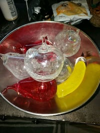 GLASS FRUIT IN LEATHER BOWL Boca Raton