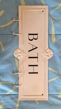 4 hooks on a bath sign.   About a foot wide, 4 inches high Bay Head, 08742