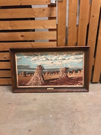 Wood rural blue sky fields painting art brown Vancouver, V6E 4S1