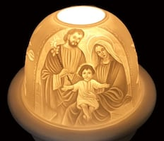 """The Holy Family"" LED BASE Dome Light with Tea Light Candle Plate"