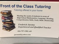 Tutoring available in your home  New Tecumseth