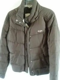 black Hollister zip and button jacket