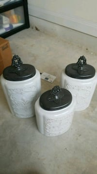 three white-and-black ceramic canisters Houston, 77089