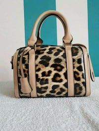 Tote bag in pelle stampa leopardo marrone e nero 6803 km