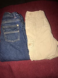 Two beige and blue denim bottoms