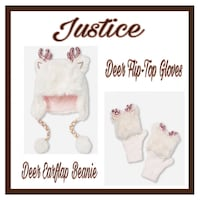 Justice Set..Deer Earflap Beanie and Flip-Top Gloves..Girls One Size Virginia Beach, 23451