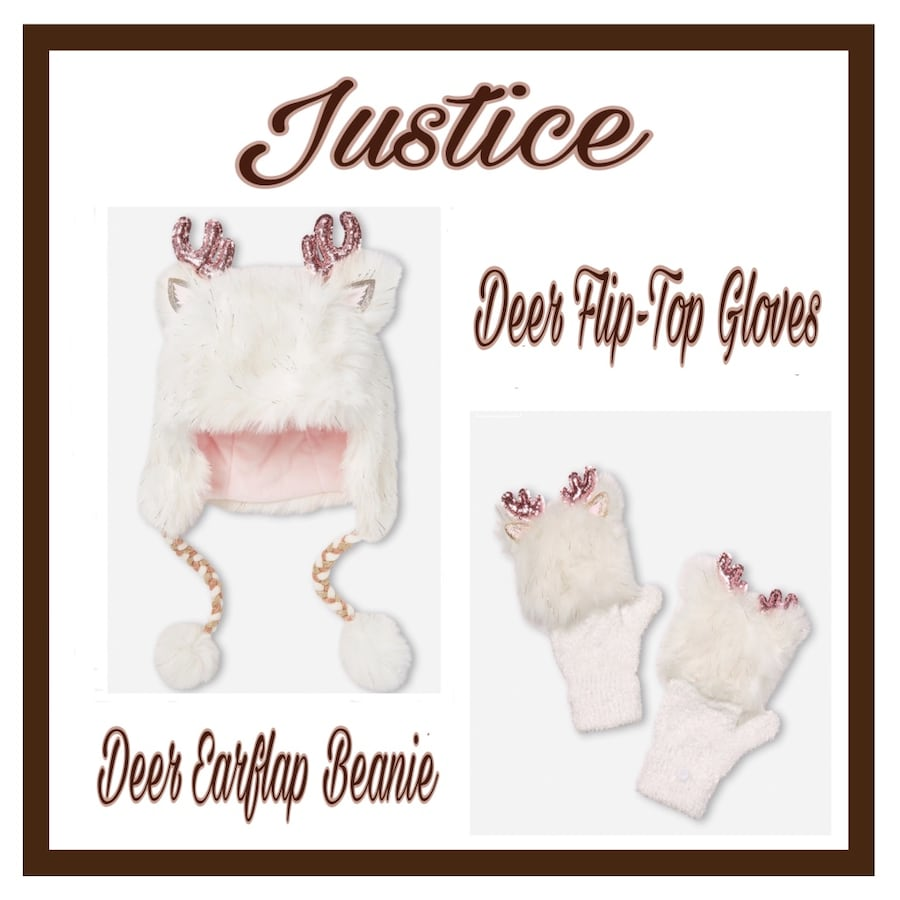 Justice Set..Deer Earflap Beanie and Flip-Top Gloves..Girls One Size