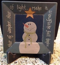 Snowman Plate & Stand