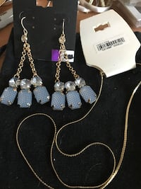 Blue Earrings & Gold Necklace Set Methuen, 01844