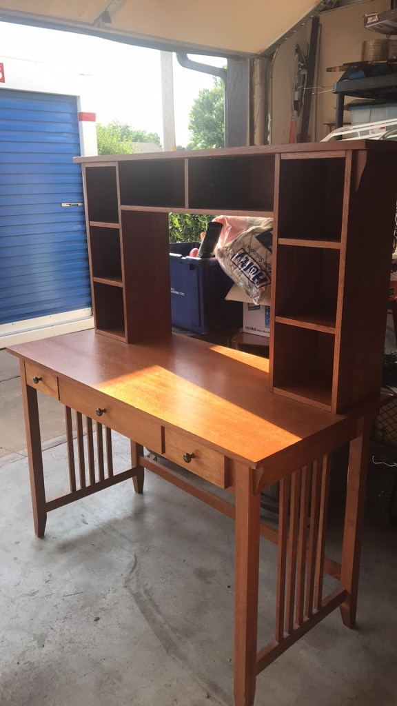 Solid Oak Desk With Removable Hutch
