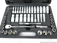 silver steel ratchet wrench kit with case