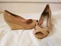 pair of brown leather peep-toe wedge sandals Victoria, V9A