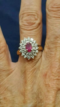 10k real diamond ring. Ruby is  lab created Mississauga, L4X 1V5