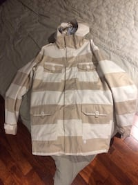 Brown and white print jacket Delson, J5B 1G2