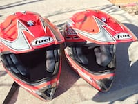 two red-and-grey Fuel motocross helmets Leamington, N8H