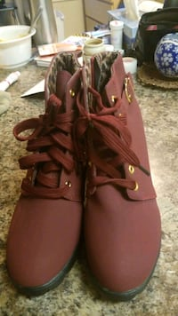 Brand new never been worn red wine colored ankle high boots