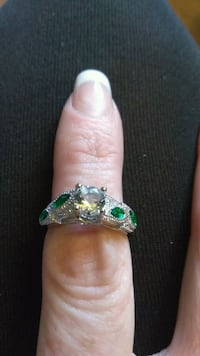 Silver, diamond engagement ring with emeralds Henderson, 89015
