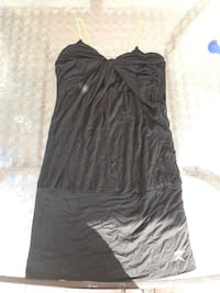 Black dress with gold chain straps