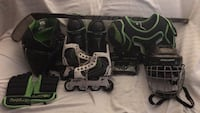 hockey equipment, Boys size Large, 9 year old wore, excellent condition, plus  hockey bag, skates are Junior 1-4. Fredericksburg, 22407