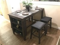 5-piece stained grey counter-height table set – BRAND NEW Broussard