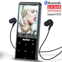MP3 Player with Bluetooth 4.1, Touch Buttons with 2.4 inch Screen, 16GB Portable Lossless Digital Audio Player with FM Radio, Voice Recorder, Support up to 128GB, Black New York, 11232