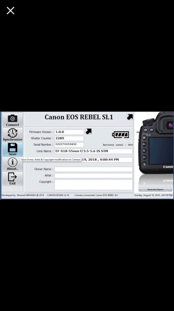 Canon SL1 touchscreen camera