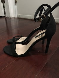 Pair of black suede pointed-toe ankle strap heels Burnaby, V5H 0E8