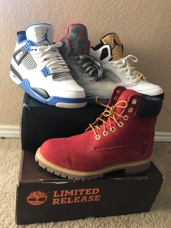 299cb60cbe3a52 Used 3 pair of Jordan s and a pair of timberlands . for sale in ...