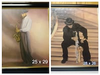 two men holding trumpet paintings with black wooden frame photo collage Sacramento