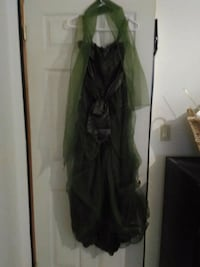 Dark green gown with shawl