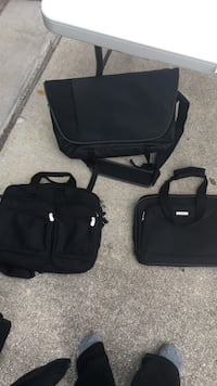 three black handbags