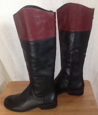 BCBG Black & Wine Tall Leather Boots--Women's size 6