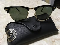 Black framed rayban club master sunglasses with pouch