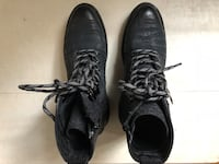 pair of black leather lace-up boots New York, 11213