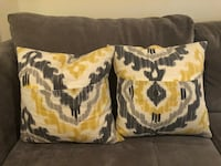 Ikat Print Throw Pillows in Yellow/Grey/Off White Jersey City, 07302