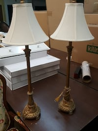 two brown wooden base white shade table lamps Coram, 11727