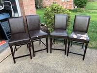 4 Dark Brown Leather Dining Chairs Centreville, 20120