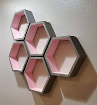 5pc Modern Floating Hexagon Shelf. Classic Gray and Candy Pink
