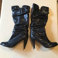 SIZE: 10. Blue leather heeled knee high boots Winchester, 22602