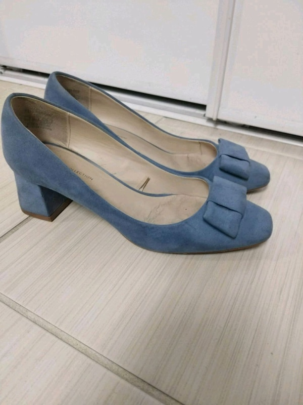 pair of blue suede