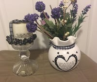 Enesco Vase & Candle with Bohemia Lead Crystal Candle Stand Saint Charles