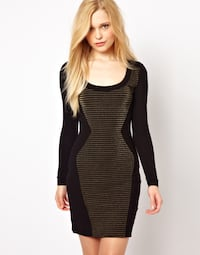 French Connection BodyCon Dress (gold and black stripe) Size 2 Toronto, M6G 1A8