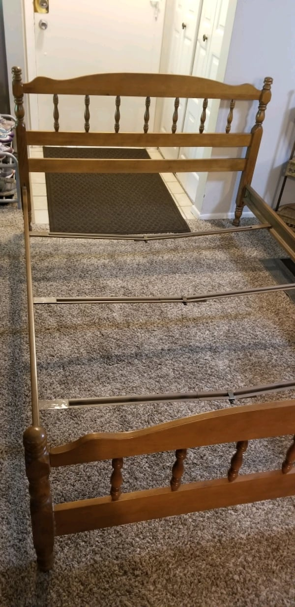 FREE! Full size bed frame with back/front board! Pick up today 6/3-8 77ca86b8-c89e-48cd-b012-d91786cd35c7