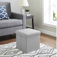 Ultra Collapsible Storage Ottoman - Gray faux suede