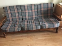 blue and brown plaid fabric 3-seat sofa