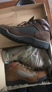 Pair of brown-and-grey leather lace-up hiking boots Silver Spring, 20904