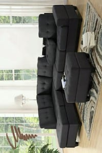 -Heights Charcoal Gray Reversible Sectional Houston
