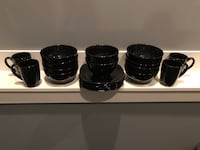 Clean 19 piece black set of bowls , cups , plates Nanaimo, V9T 2N6